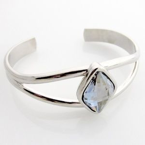 Solid Brass Open Cuff w/ Swarovski Crystal